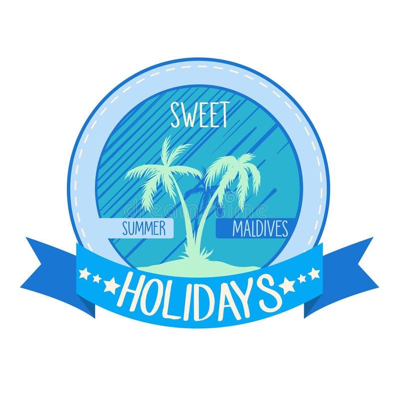 Süßes Feiertagslogo, Emblem Vektorillustration mit Palmen auf Insel sommerzeit lizenzfreies stockbild