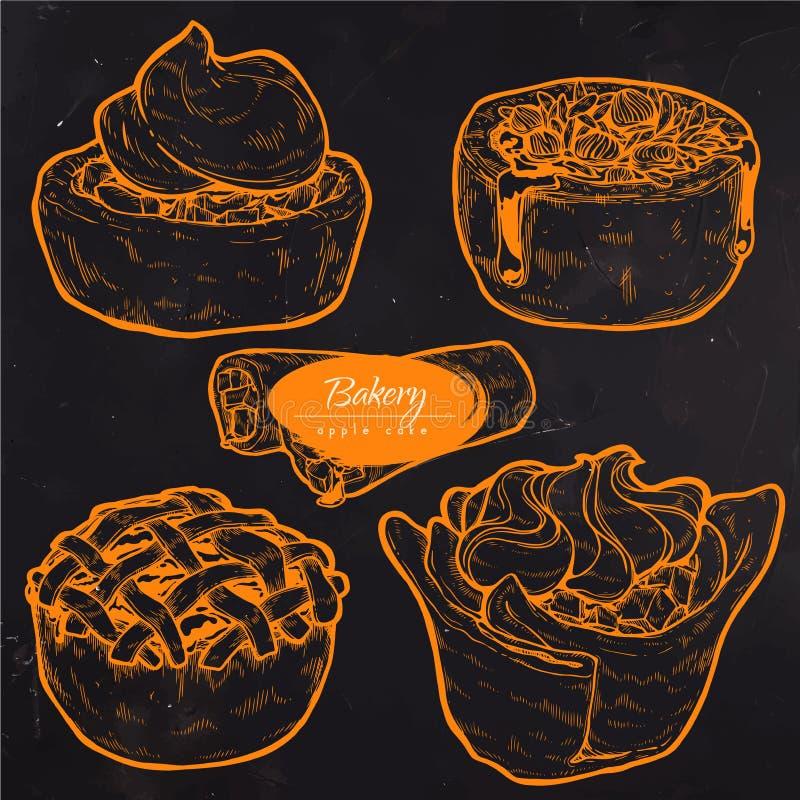 Süßes Gebäck, traditioneller Kuchen, Törtchen und Torte mit Frucht und dem Beerenanfüllen stockfotografie
