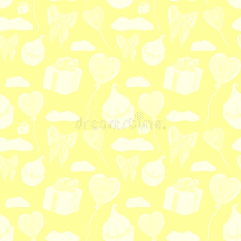 Süßes gelbes Liebeselementmuster Liebe und Bonbonschablonenentwurf Aquarellmuster Whitkleiner kuchen, rotes Herz lolipop vektor abbildung