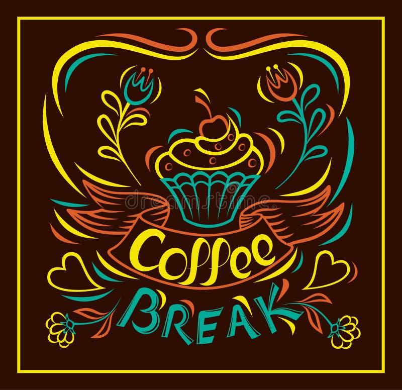 Süßes Hörnchen und ein Tasse Kaffee im Hintergrund Abgehobener Betrag backen eigenhändig, Motivplakatbrett zusammen Gemalter eige vektor abbildung