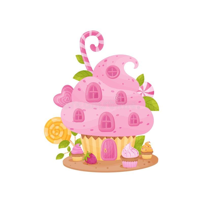 Süßes Haus in Form eines Korbes mit Sahne Vektorabbildung auf wei?em Hintergrund lizenzfreie abbildung