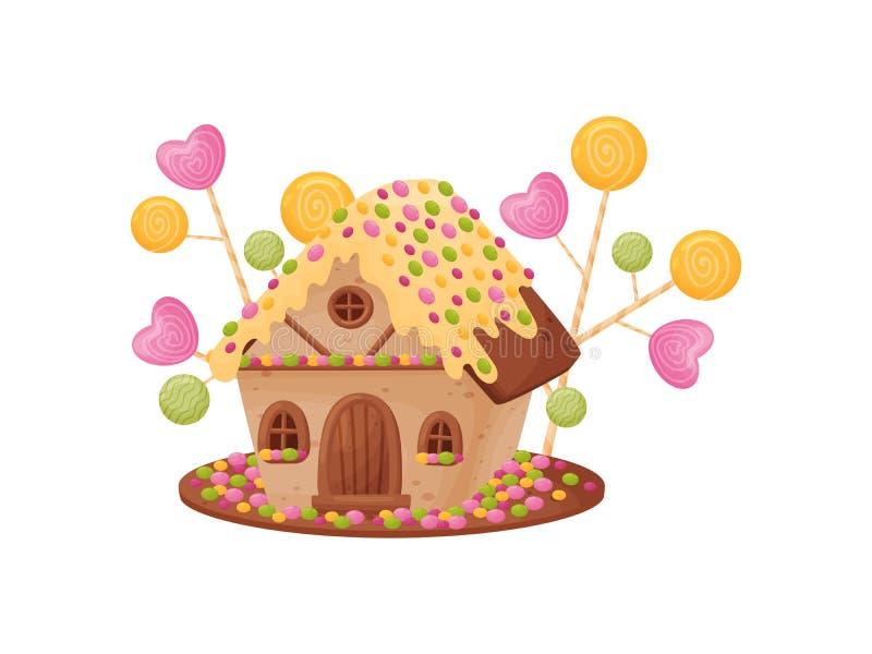 Süßes Haus mit Sahne auf dem Dach Vektorabbildung auf wei?em Hintergrund lizenzfreie abbildung