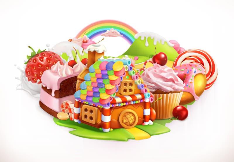 Süßes Haus Süßigkeiten und Nachtische, Vektorillustration vektor abbildung