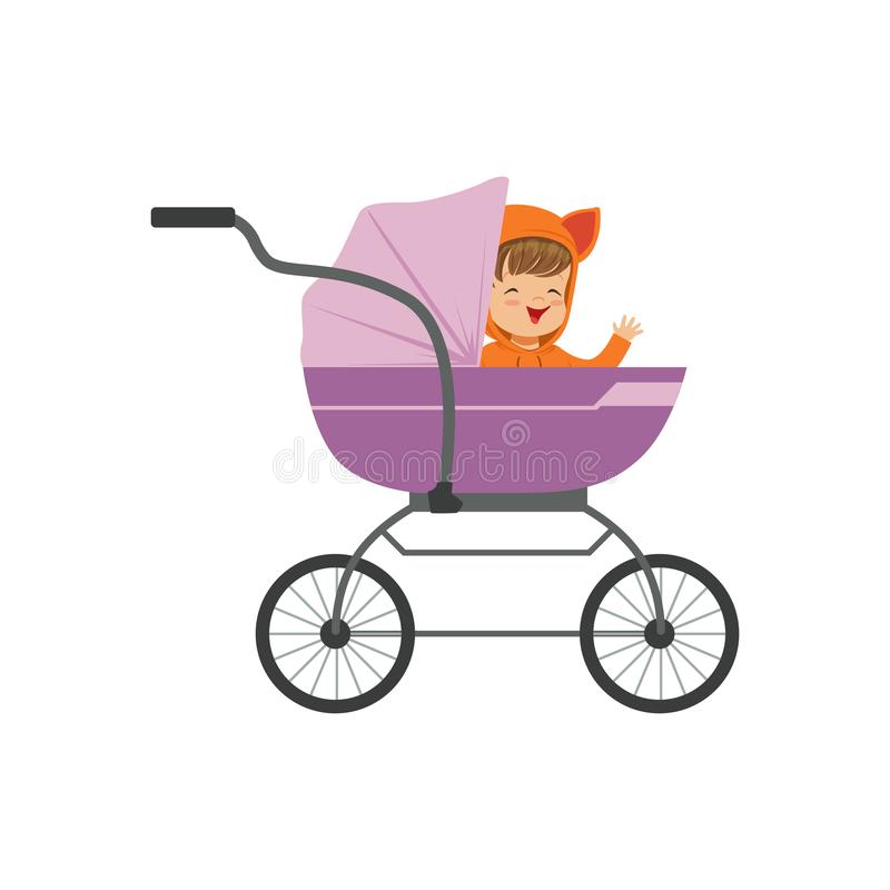 Süßes Kleinkind, das in einem purpurroten Baby Pram, Sicherheitsgrifftransport der Vektorillustration der kleine Kinder sitzt vektor abbildung