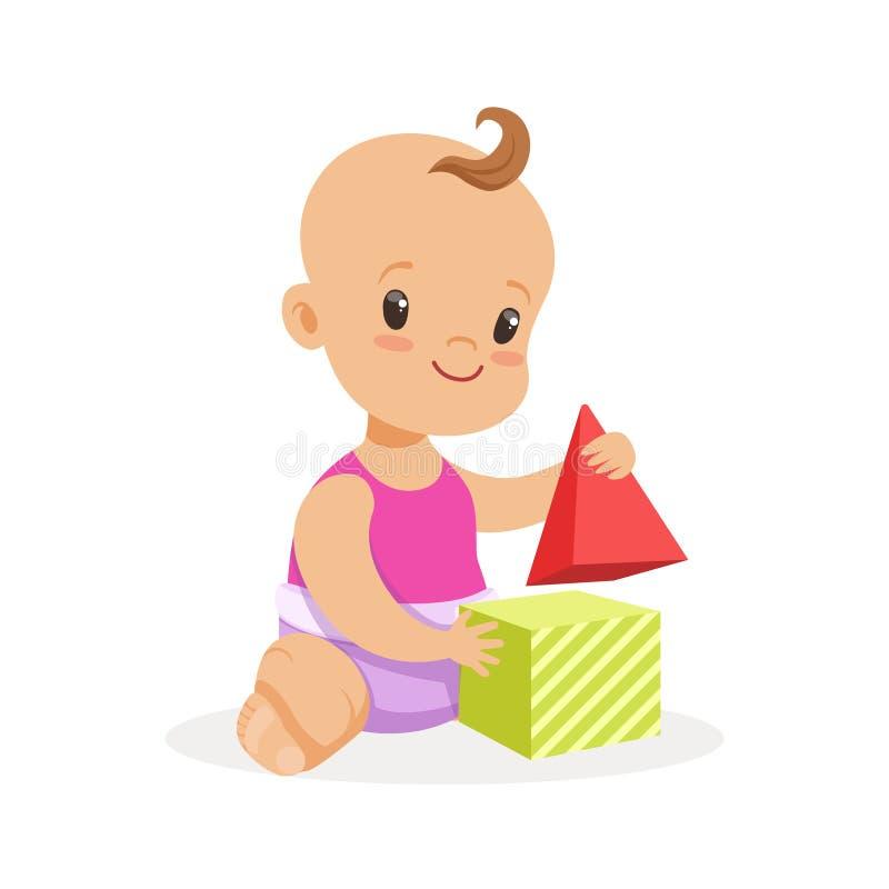 Süßes lächelndes Baby, das mit Spielzeugwürfeln, bunte Zeichentrickfilm-Figur-Vektor Illustration sitzt und spielt vektor abbildung
