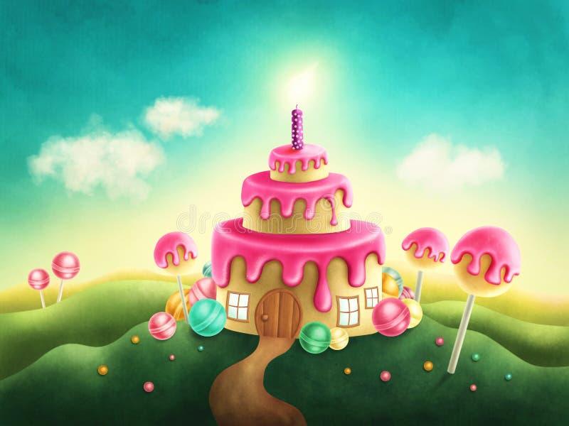 Süßes Land der Fantasie mit Geburtstagskuchen lizenzfreie abbildung