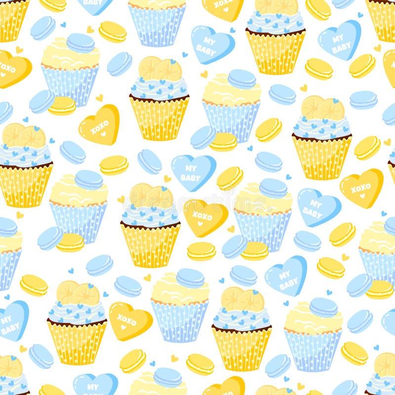 Süßes Muster mit kleinen Kuchen, Makronen und Herzen Liebe lizenzfreie abbildung