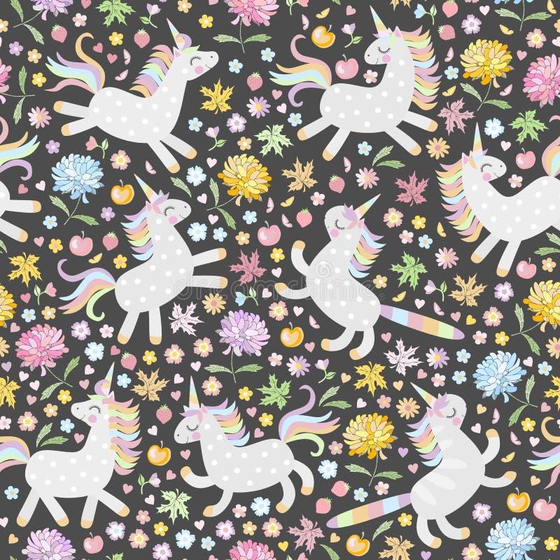 Süßes nahtloses Muster mit netten Einhörnern, Blumen und Früchten auf schwarzem Hintergrund im Vektor stock abbildung