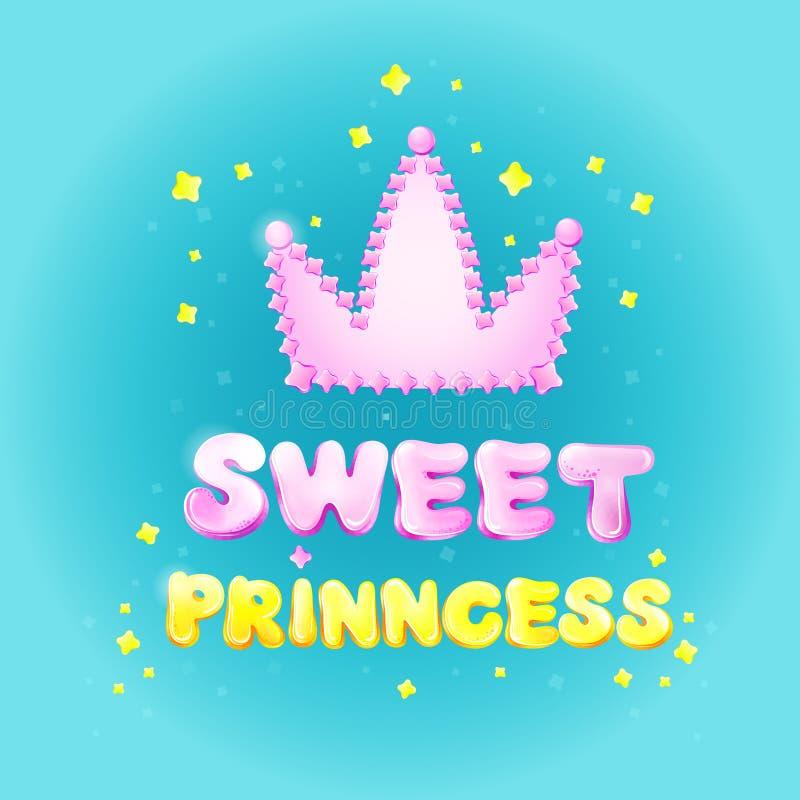 Süßes Prinzessingeburtstags-Grußkarten-Vektorillustrations-Karikaturdesign für Mädchenfeiertag oder Parteifeier stock abbildung