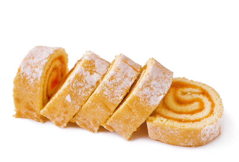 Süßes Rollenkuchen stockbild