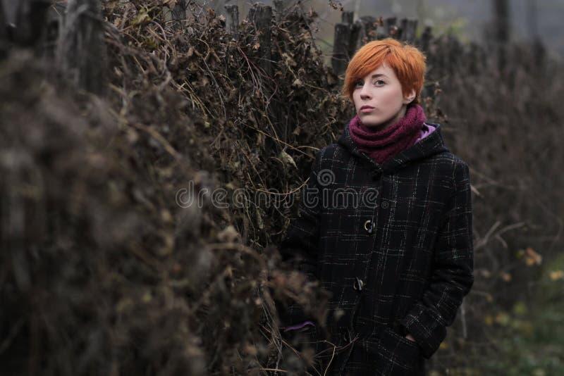 Süßes rothaariges Mädchen in einem schwarzen Mantel und Purpur in einem gestrickten Schal steht den Zaun bereit, der mit Weinstoc lizenzfreie stockbilder