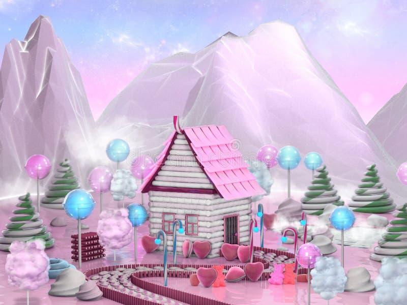 Süßes Süßigkeitshaus umgeben durch Lutscher, Zuckerstangen und Karamele Illustration der Fantasielebensmittel-Landschaft 3D stock abbildung