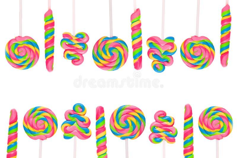 Süßes Süßigkeitsland der Fantasie mit Lutschbonbons stock abbildung