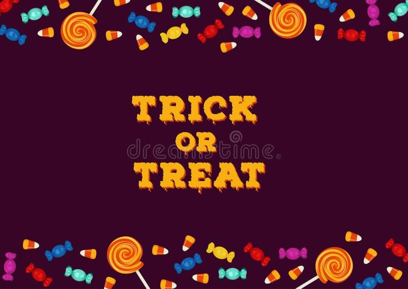 Süßes sonst gibt's Saures Aufschrift mit der horizontalen Grenze gemacht von den Süßigkeiten Glückliche Halloween-Feiertagskonzep lizenzfreie abbildung