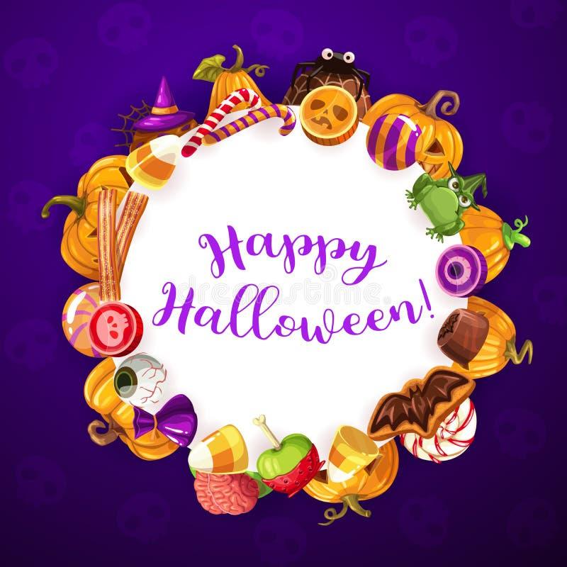 Süßes sonst gibt's Saures Fahne, Halloween-Parteibonbons lizenzfreie abbildung
