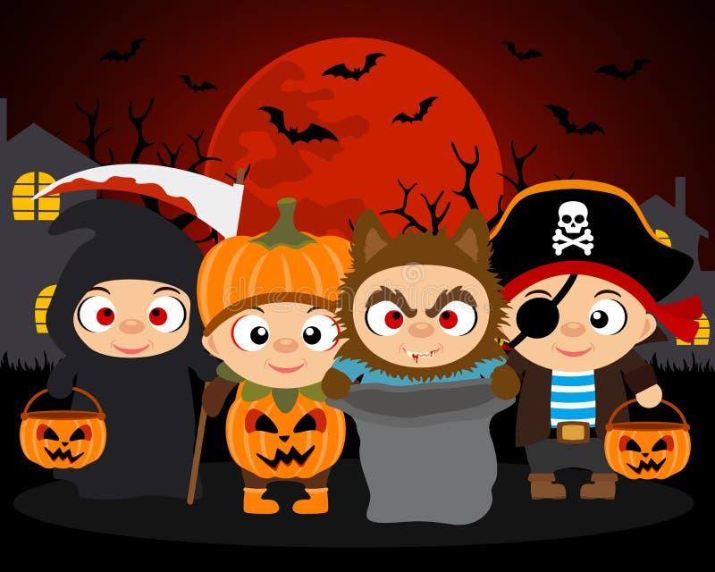 Süßes sonst gibt's Saures Halloween-Vektorhintergrund mit Kindern lizenzfreie abbildung