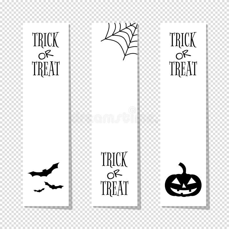 Süßes sonst gibt's Saures vertikale Fahnen Halloweens eingestellt lizenzfreie abbildung