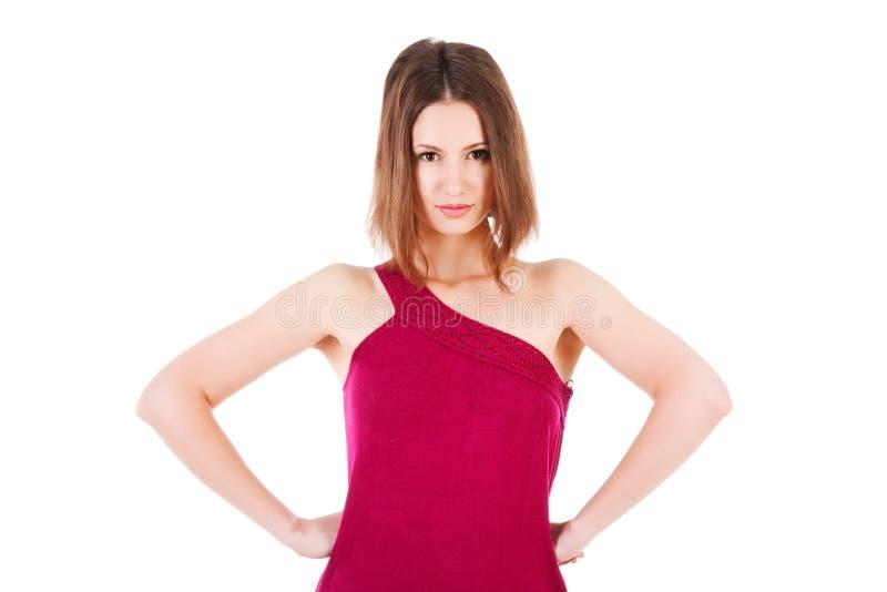 Süßes strenges Mädchen im Kleid lizenzfreie stockfotografie