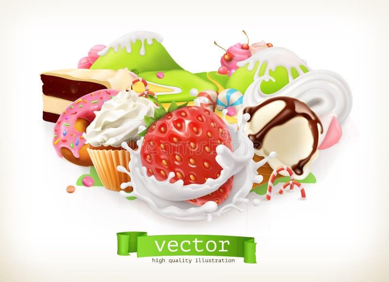Süßes System Süßigkeiten und Nachtische, Erdbeere und Milch, Eiscreme, Schlagsahne, Kuchen, kleiner Kuchen, Süßigkeit Auch im cor vektor abbildung