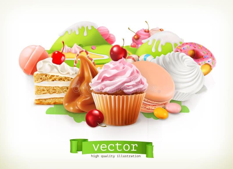 Süßes System Süßigkeiten und Nachtische, Kuchen, kleiner Kuchen, Süßigkeit, Karamell Auch im corel abgehobenen Betrag vektor abbildung