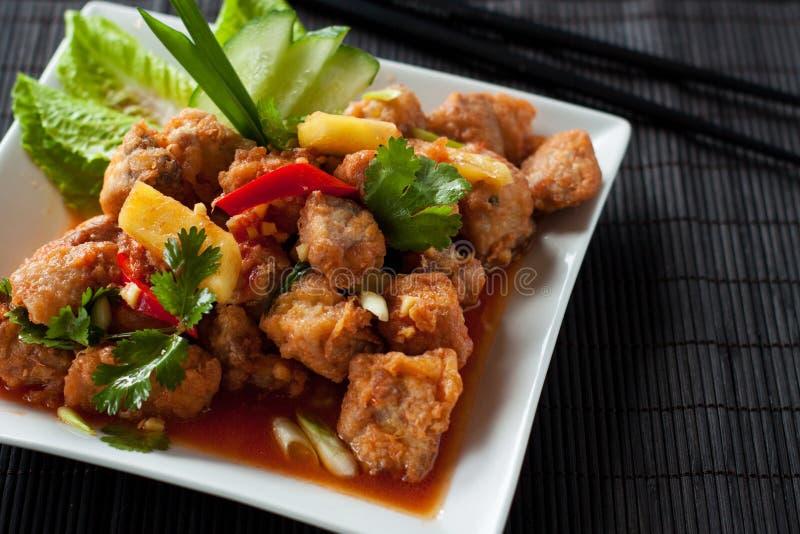Süßes und saures Schweinefleisch Asiatische Nahrung stockfotos