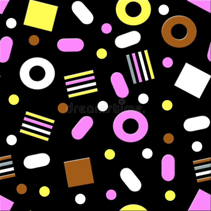 Süßholz-Süßigkeits-nahtloses Muster vektor abbildung
