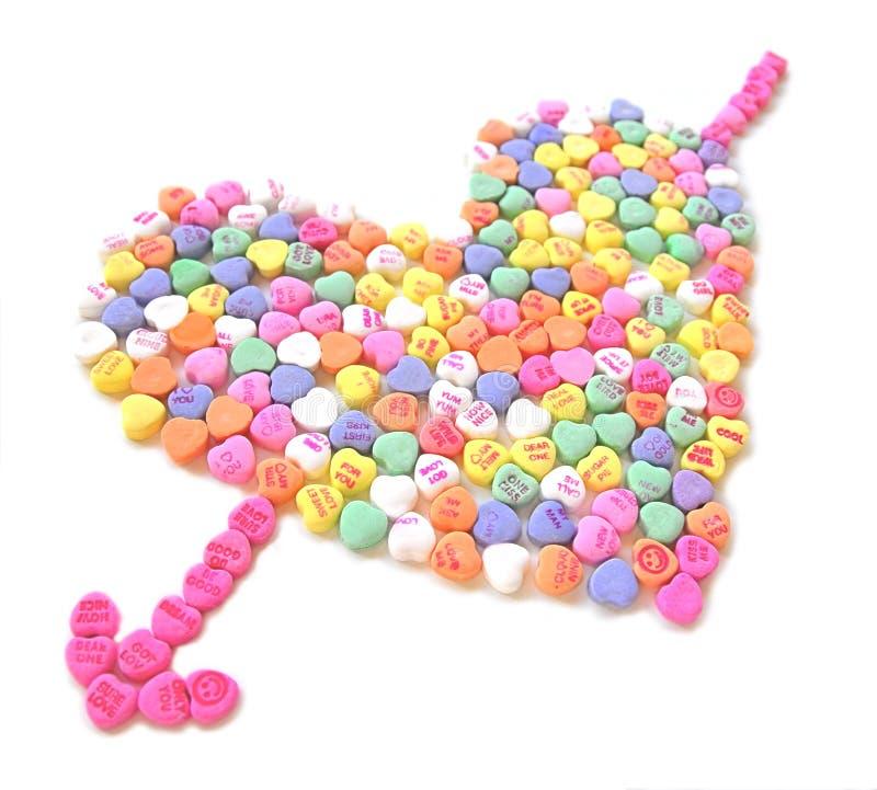Süßigkeit-Inneres mit Pfeil stockbild