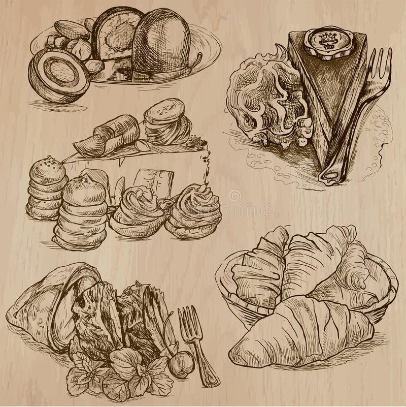 Süßigkeit und Bonbons - Sammlung Hand gezeichnete Illustrationen stock abbildung
