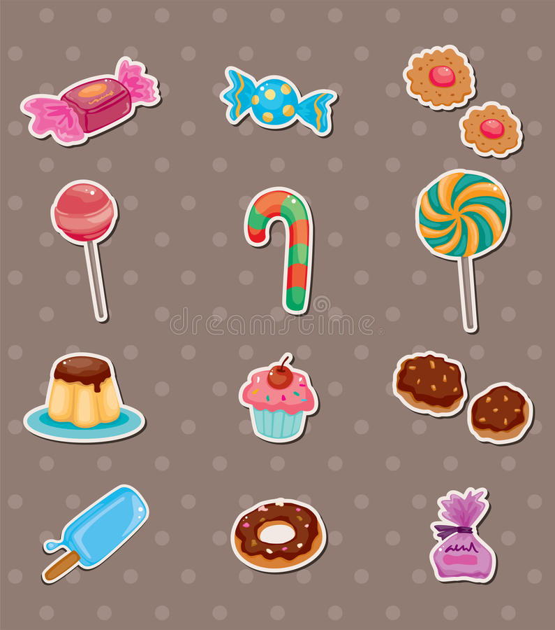 Süßigkeitaufkleber stock abbildung