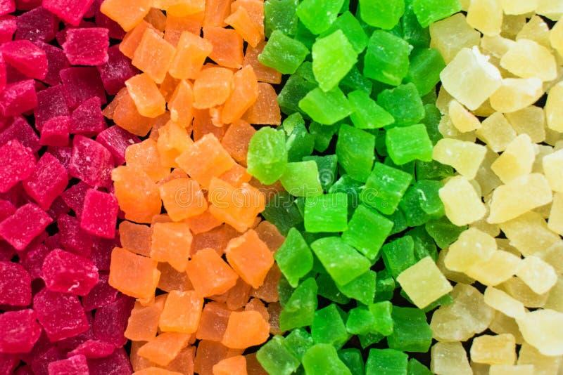 Süßigkeiten der kandierten Frucht mehrfarbig alle Art, Hintergrund lizenzfreie stockfotografie