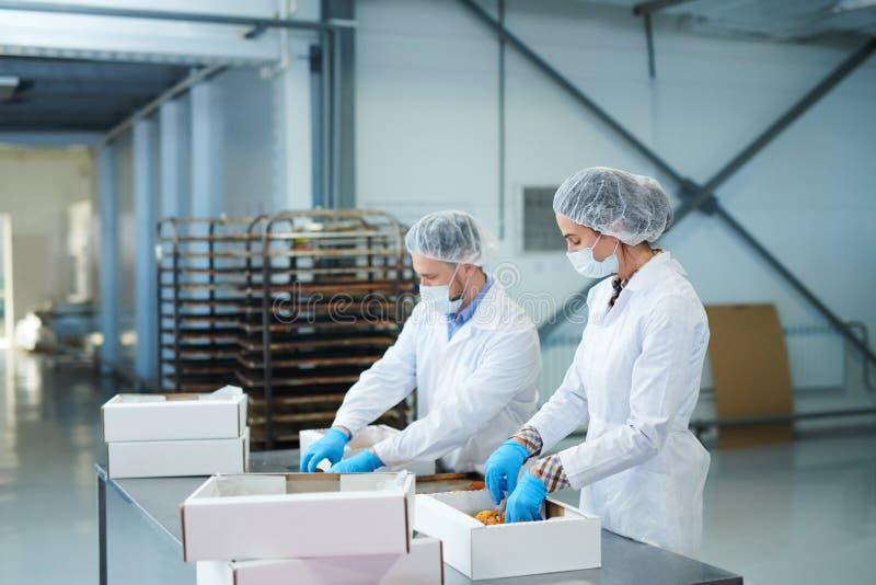 Süßigkeitenfabrikangestellte, die Gebäck in Kästen verpacken lizenzfreie stockfotos