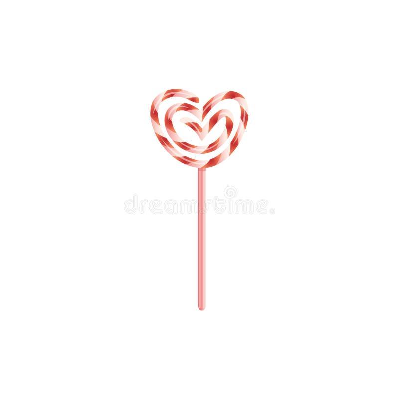 Süßigkeits-Lutscherikone des flachen Herzens des Vektors verdrehte lizenzfreie abbildung