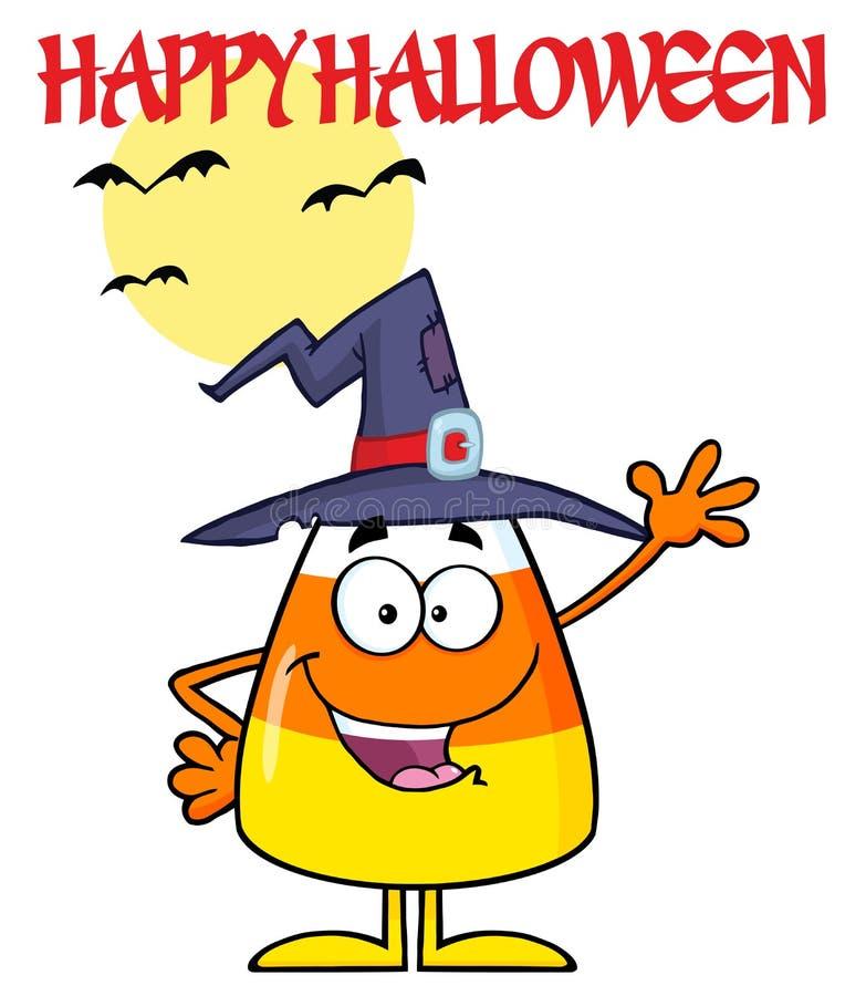Süßigkeits-Mais-Zeichentrickfilm-Figur mit einem Hexen-Hut lizenzfreie abbildung