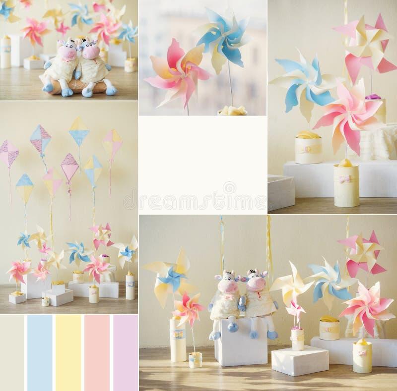 Süßigkeitsfarben in der Dekoration lizenzfreie stockfotos