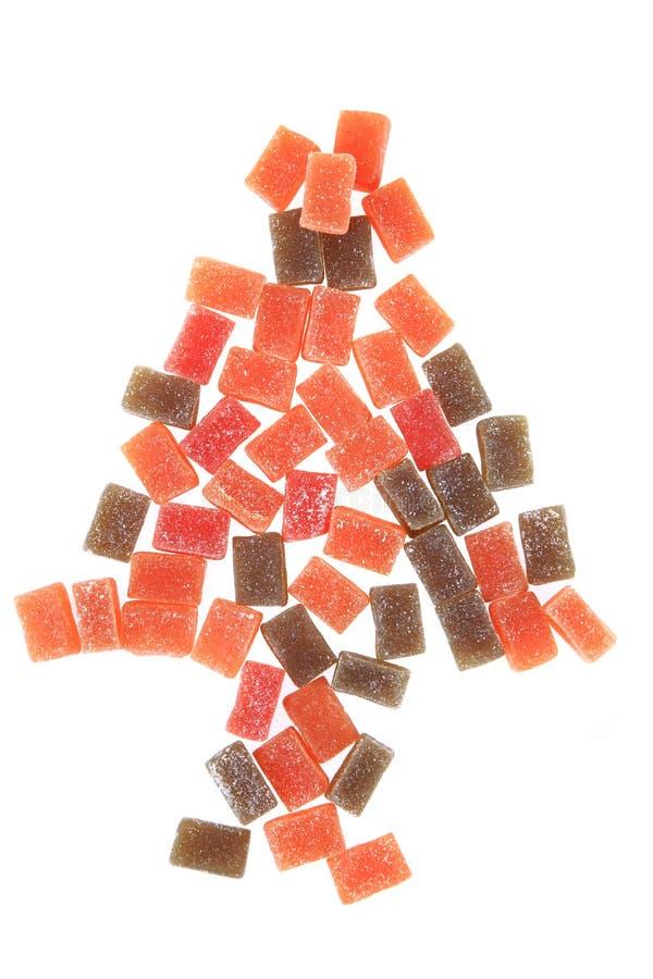 Süßigkeitsfruchtwürfel als Weihnachtsbaum stockfotos