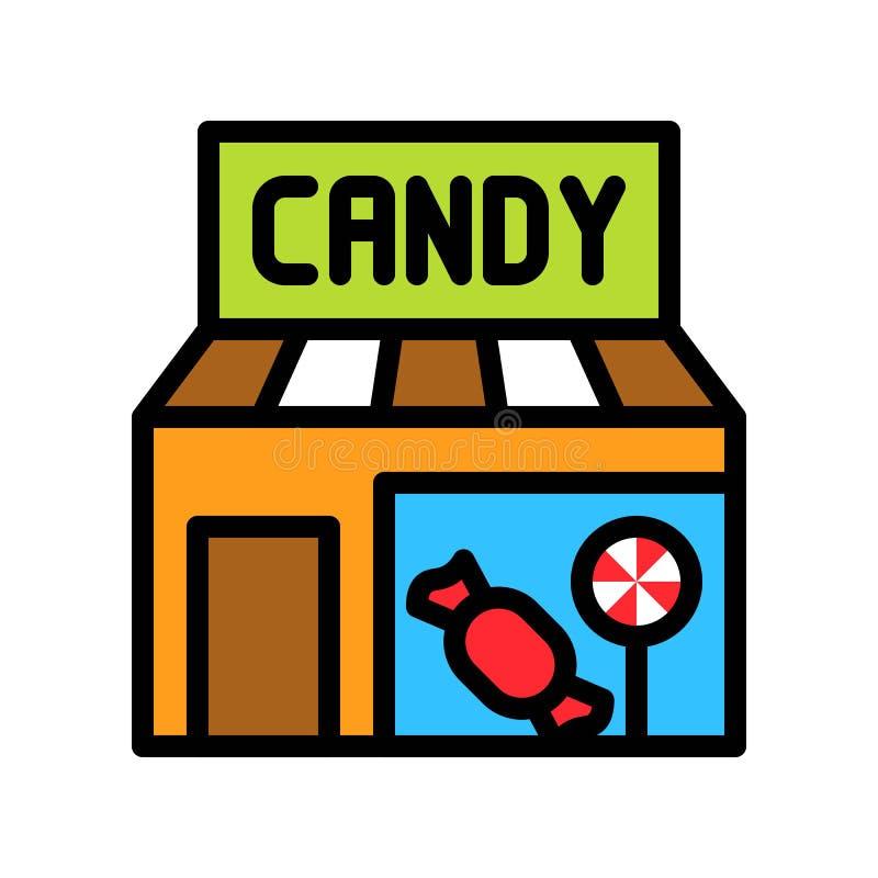 Süßigkeitsgeschäfts-Vektorillustration, füllte editable Entwurf der Artikone vektor abbildung