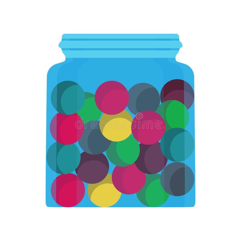 Süßigkeitsglasglassüßspeisenahrungsmittelvektorikone Schokoladenbehälterzuckerlutscherkarikatur-Speichergeschäft Bunter Ball des  lizenzfreie abbildung