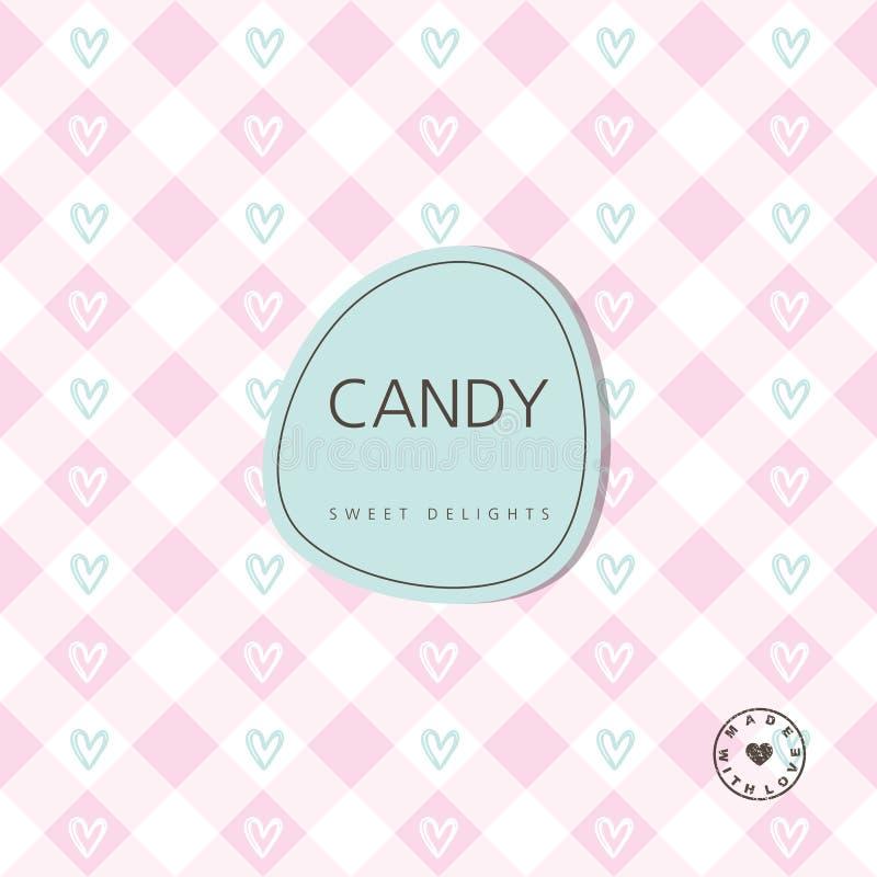 Süßigkeitshintergrund - süße Freuden Hintergrund mit Kennsatz Entwurf lizenzfreie abbildung