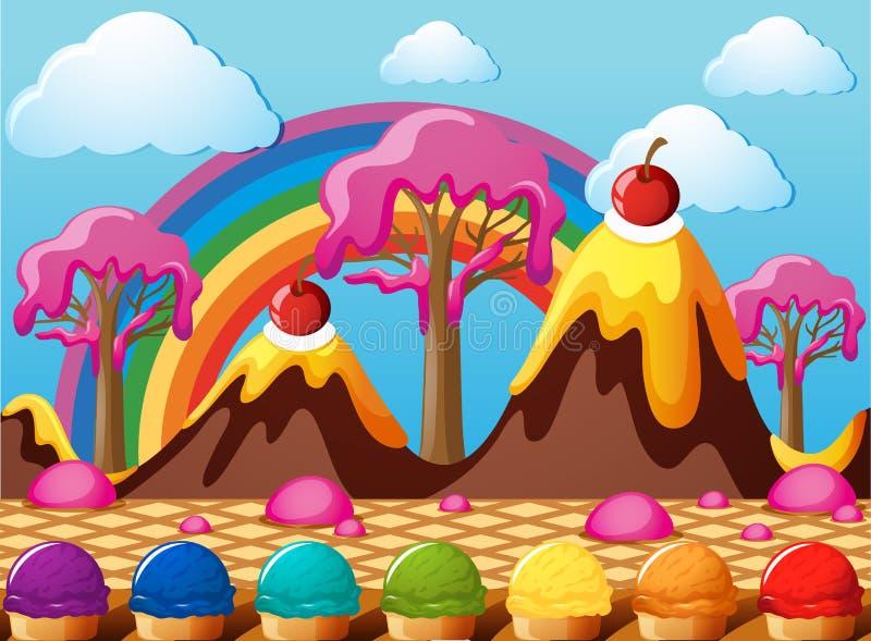 Süßigkeitsland mit Schokoladenbergen und Eiscremefeld lizenzfreie abbildung