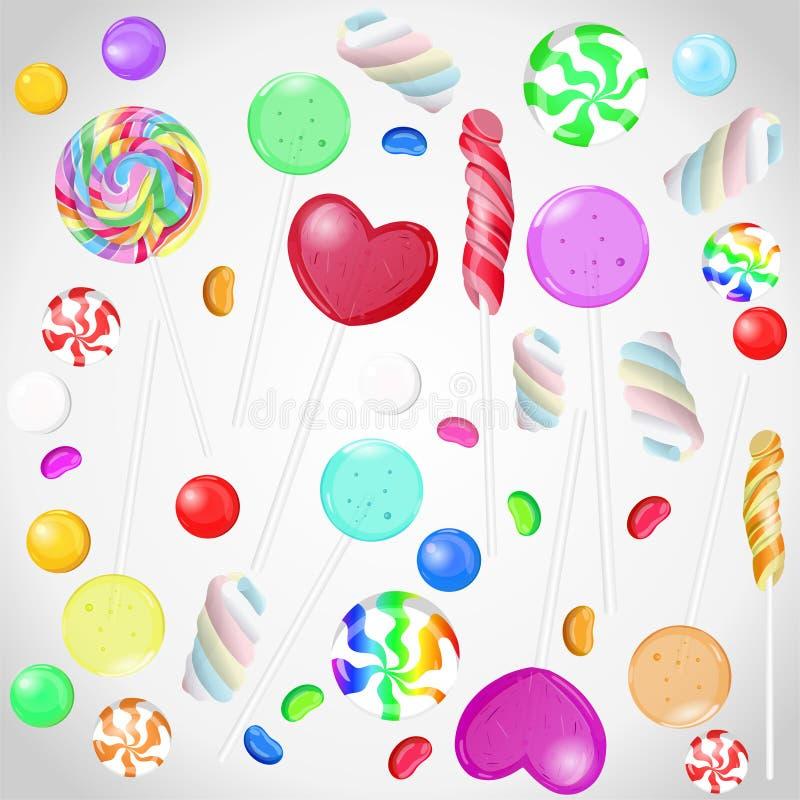 Süßigkeitssammlung auf weißem lokalisiertem Hintergrund Vektorsatz candys vektor abbildung