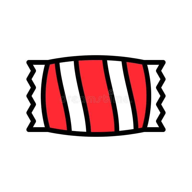 Süßigkeitsvektorillustration, füllte editable Entwurf der Artikone vektor abbildung
