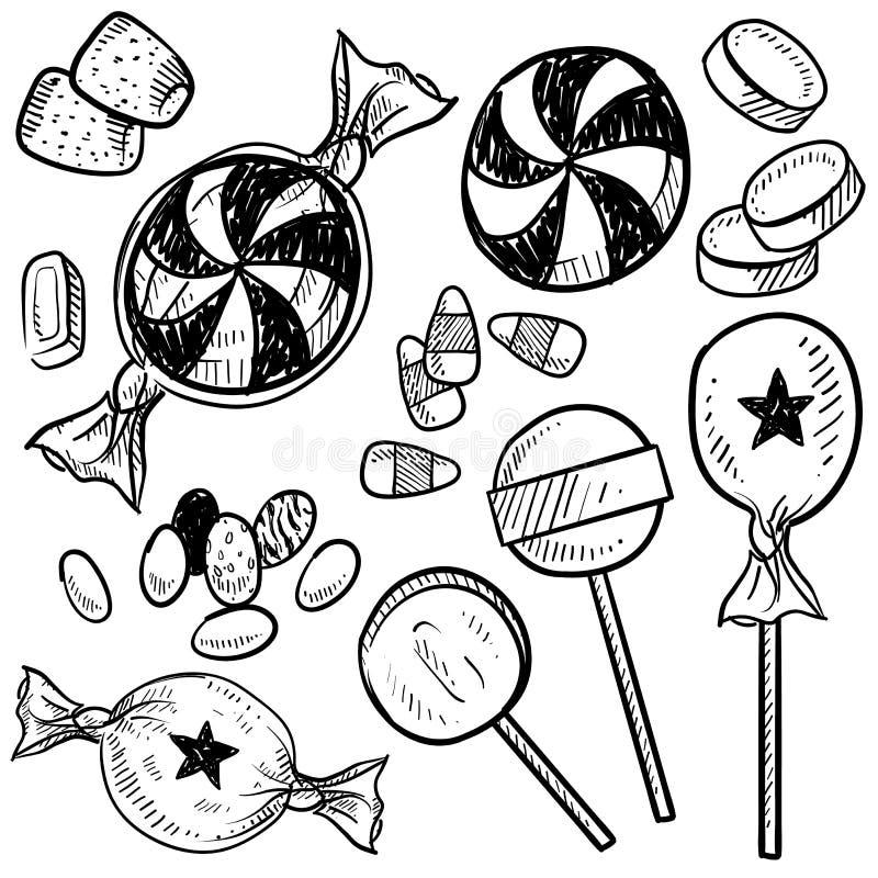 Süßigkeitvektorskizze lizenzfreie abbildung