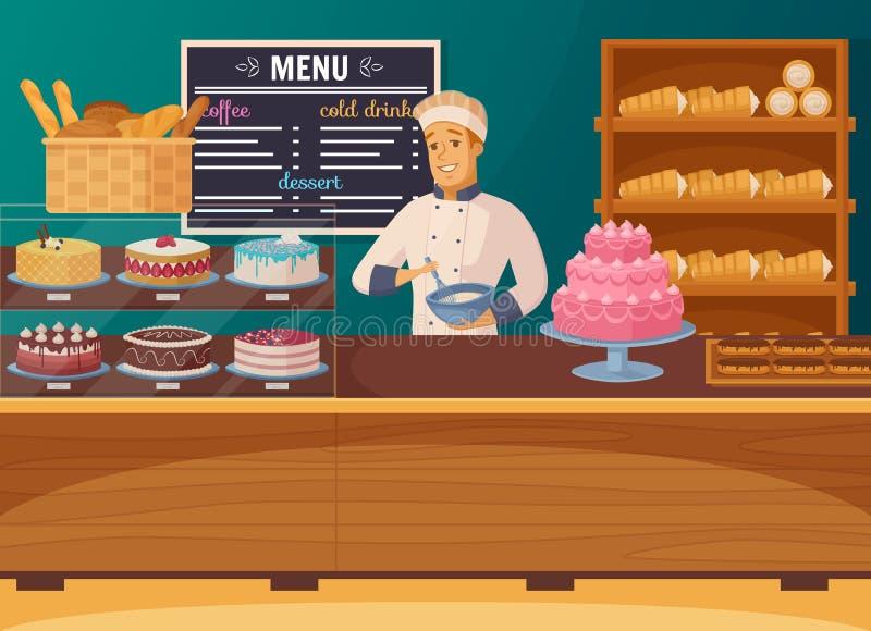 Süßwarengeschäft-Karikatur-Zusammensetzung stock abbildung
