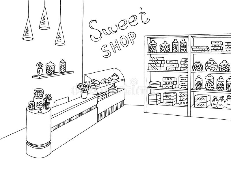 Süßwarengeschäftgrafische schwarze weiße Innenskizzenillustration stock abbildung