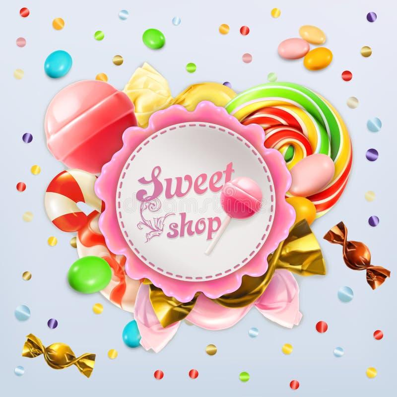 Süßwarengeschäftsüßigkeitsaufkleber stock abbildung