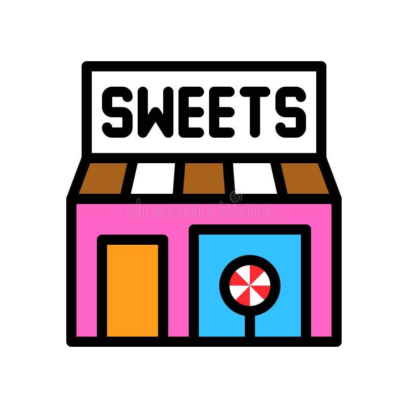 Süßwarengeschäftvektorillustration, füllte editable Entwurf der Artikone stock abbildung