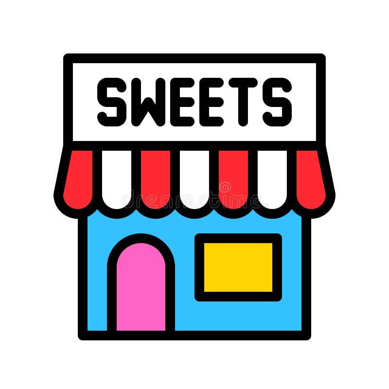 Süßwarengeschäftvektorillustration, füllte editable Entwurf der Artikone lizenzfreie abbildung