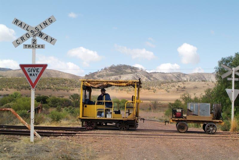 Süd-Australien, Eisenbahn, Draisine lizenzfreies stockbild