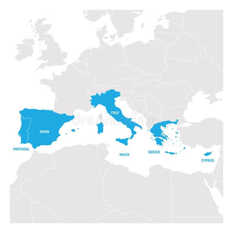 Süd-Europa-Region Karte von Ländern in Südeuropa um Mittelmeer Auch im corel abgehobenen Betrag vektor abbildung
