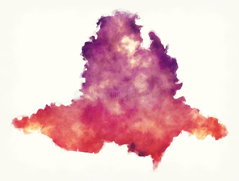 Süd-Moravian-Regions-Aquarellkarte der Tschechischen Republik in der Front stockfotografie